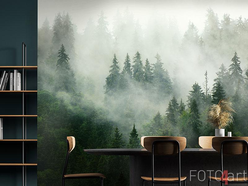 Fotobehang - Misty landscape with