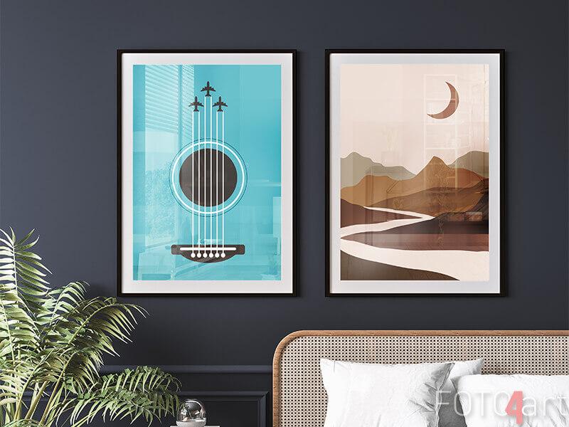 Ingelijste posters Staand gitaar en abstract