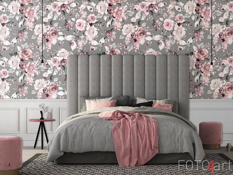 Behang - Naadloos patroon met bloemen