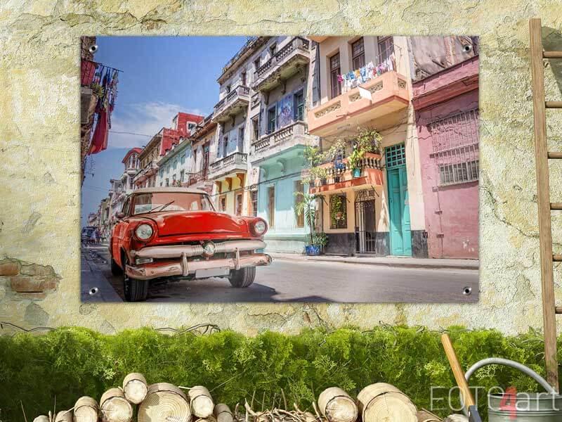Tuinposter - Vintage klassiek rood in Cuba