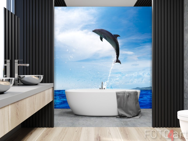 Badkamer met Glazen Achterwand Dolfijn