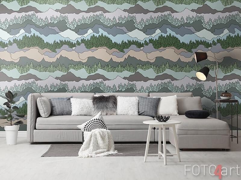 Behang abstracte bergen