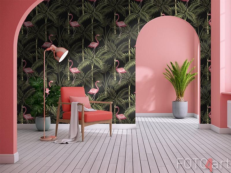 Behang met flamingo's