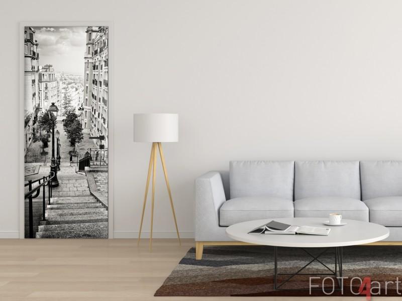 Mooie Deursticker met Foto Straten van Parijs