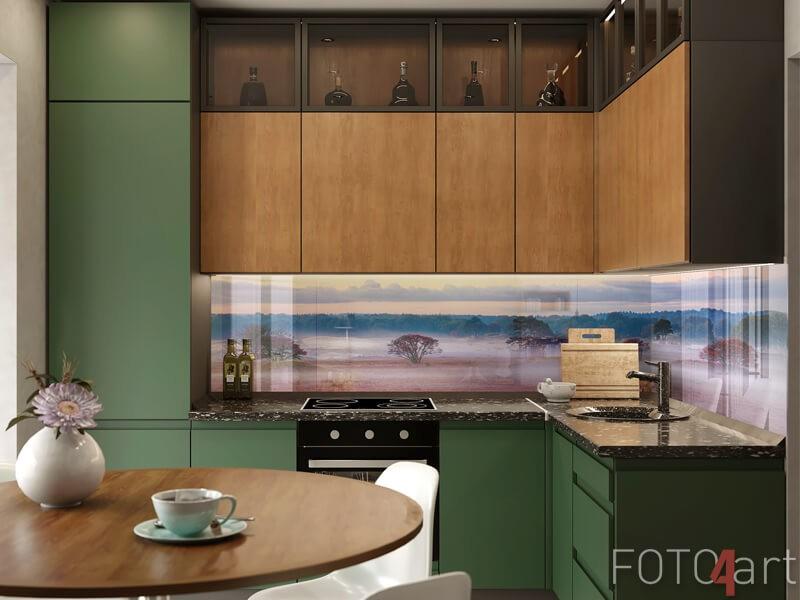 Mistige zonsopgang op glazen keukenachterwand