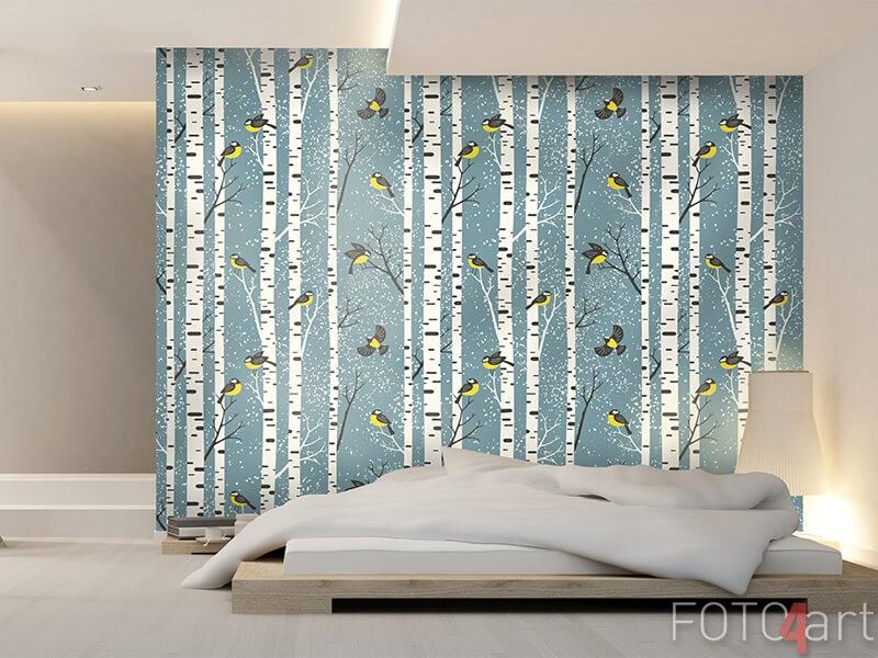 Fotobehang met berkenbomen