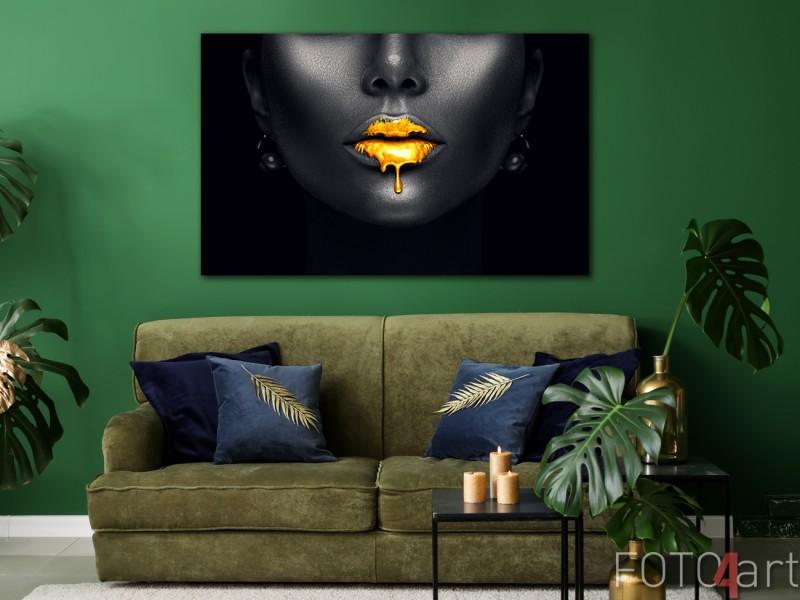 Foto Gouden Fashion Lippen op Aluminium