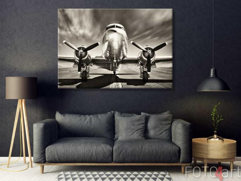 Vintage vliegtuig op canvas