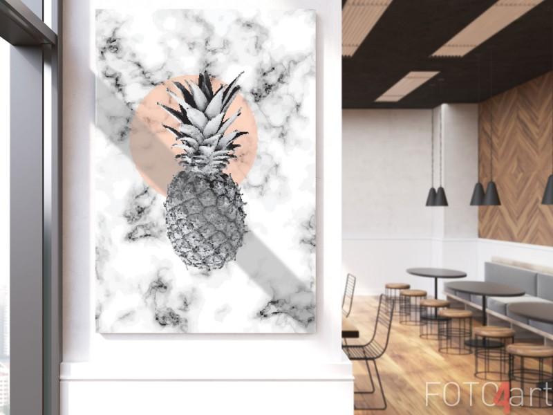 Foto op plexiglas ananas en marmer
