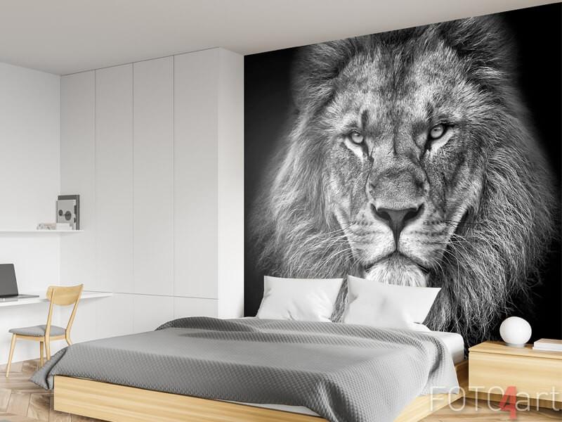 Zwart-wit fotobehang leeuw