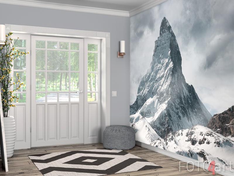 Afwasbaar fotobehang besneeuwde bergtoppen
