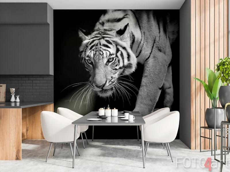 Een tijger op fotobehang in de keuken