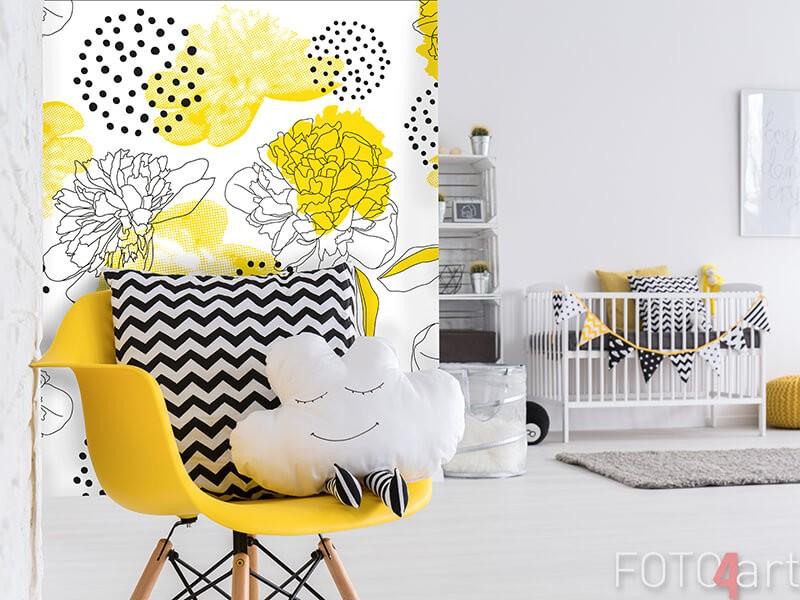 Fotobehang met gele accenten
