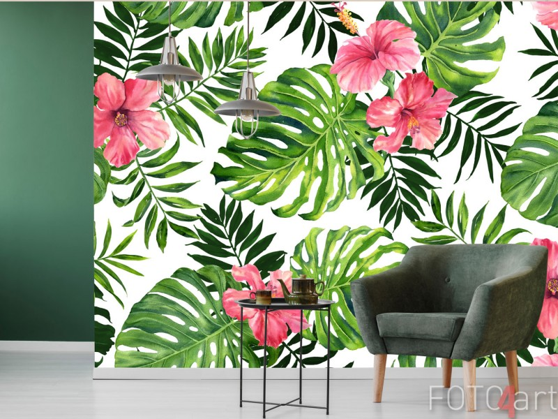 Fotobehang Tropische monstera en palm bladeren patroon