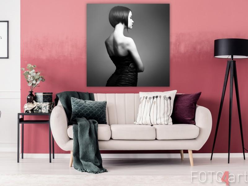 Hippe Woonkamer met Canvas Dame in Zwart-Wit