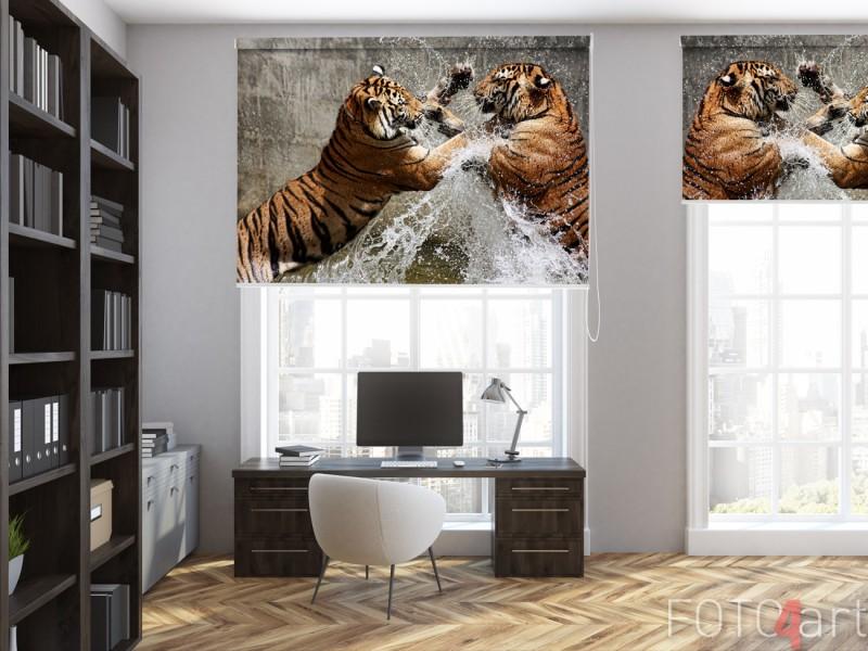 Kantoorruimte met Fotorolgordijn Tijger Gevecht