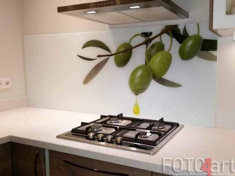 Keuken achterwand met foto - olijven