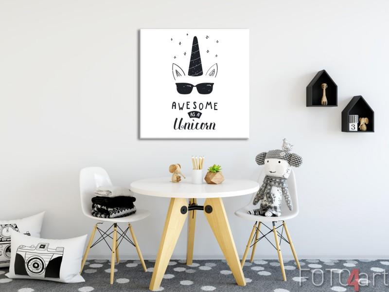 Kinderkamer met Illustratie Unicorn op Canvas