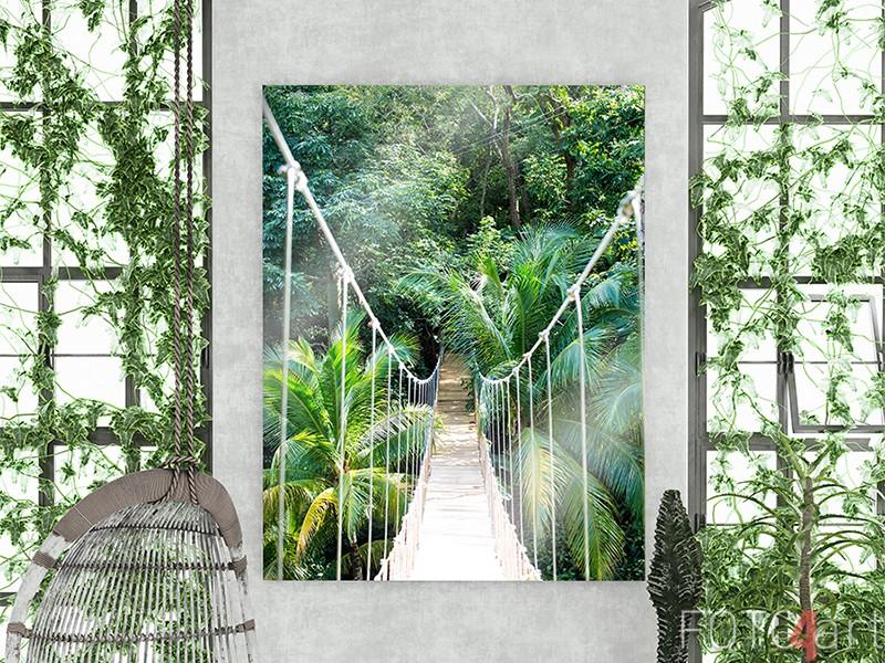 Jungle touwbrug op plexiglas