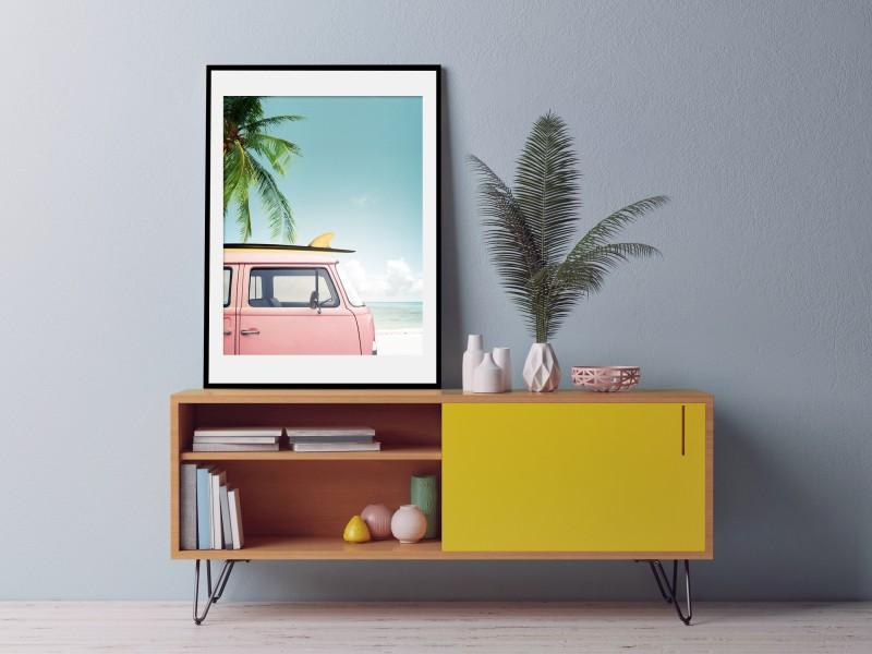 Ingelijste Poster met Retro Bus