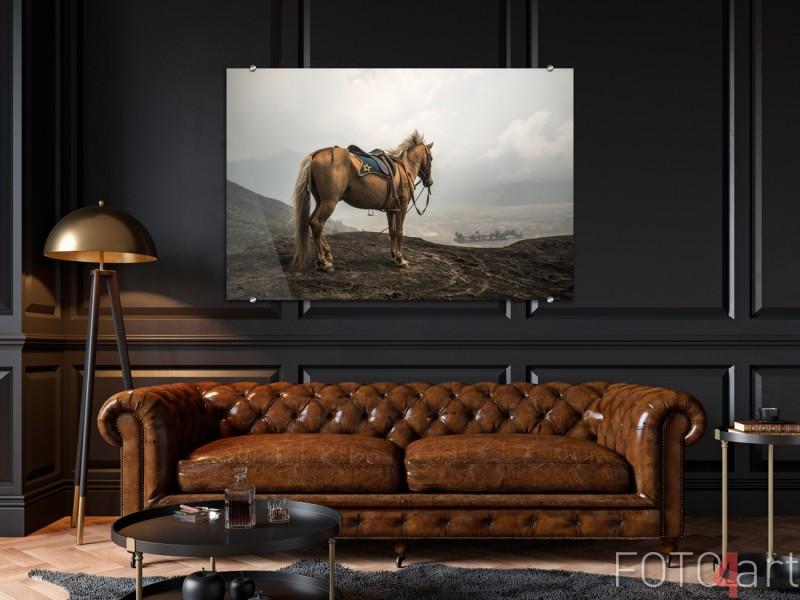Schilderij op Glas Paard bij Vulkaan
