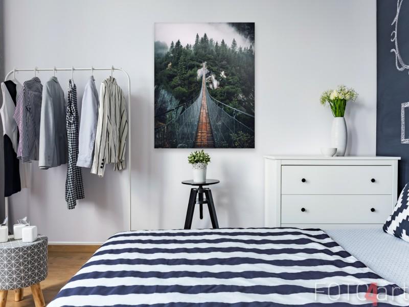Slaapkamer met Foto op Canvas Gebergte