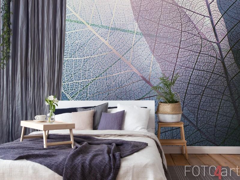 Slaapkamer met Fotobehang Textuur Bladeren