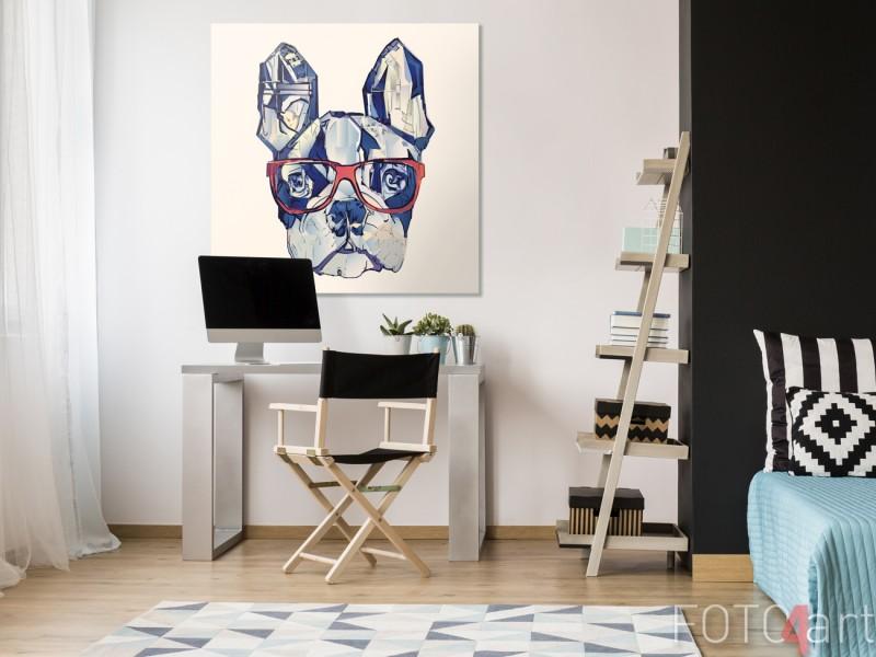 Studiekamer met Illustratie Franse Bulldog op Canvas