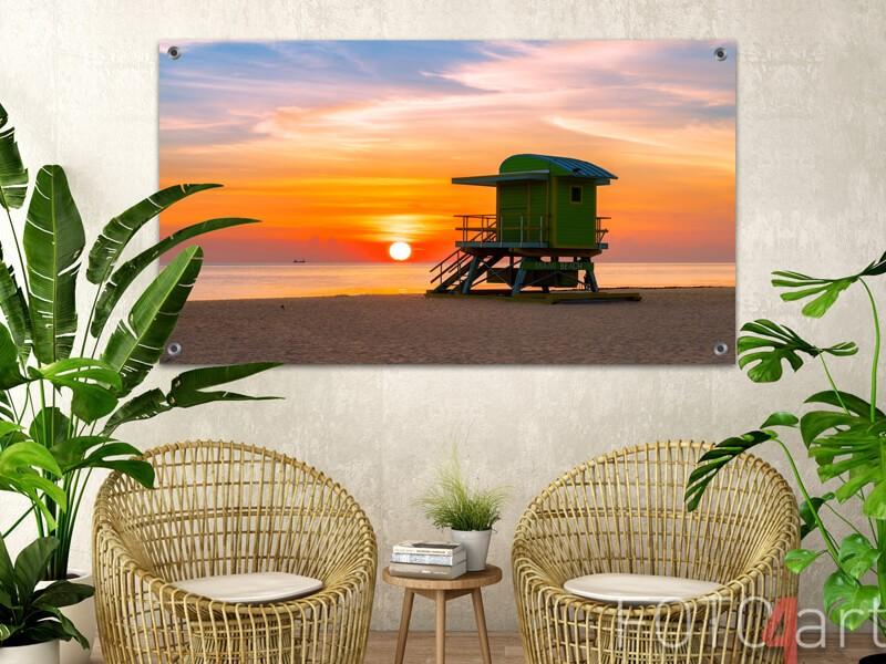 Tuinposter van een zonsondergang aan zee