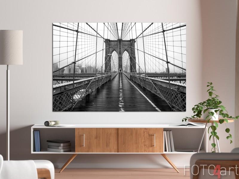 Woonkamer met Foto op Aluminium Brooklyn Bridge