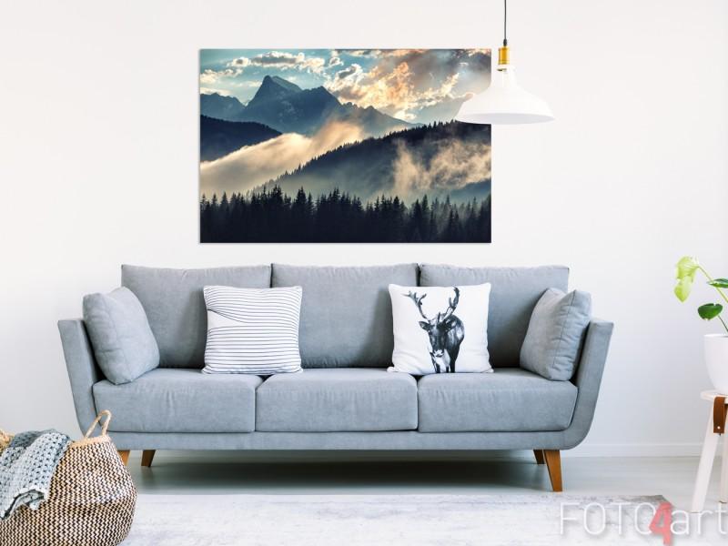 Woonkamer met Foto van Bergen op Aluminium