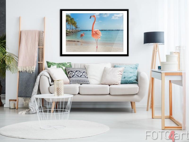 Woonkamer met Ingelijste Poster Flamingo